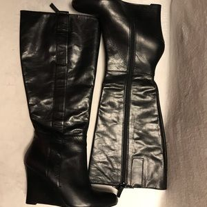 NINE WEST EUC LEATHER WEDGE KNEE HIGH BOOTS